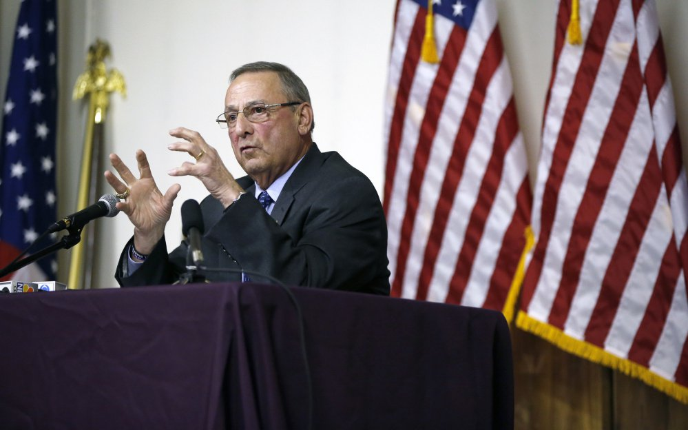Gov. Paul LePage speaks during Wednesday night's town hall meeting at Amvets Post 2 in Yarmouth. Several hundred people turned out.