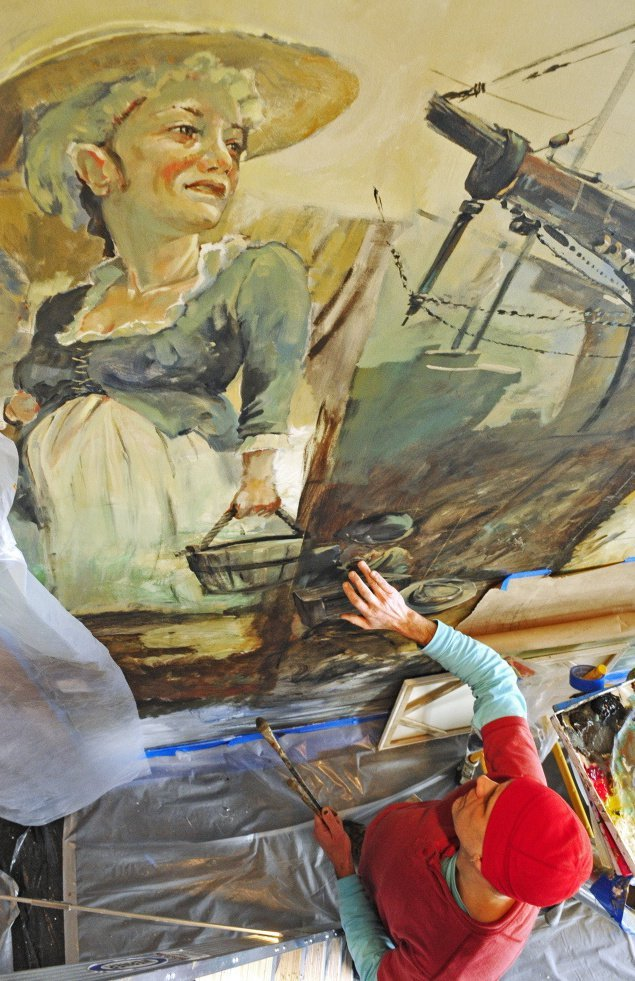 Hallowell artist Christopher Cart works on a mural at the Capital Judicial Center in Augusta. Cart was one of four artists selected by the Maine Arts Commission to do work at the courthouse in 2015.