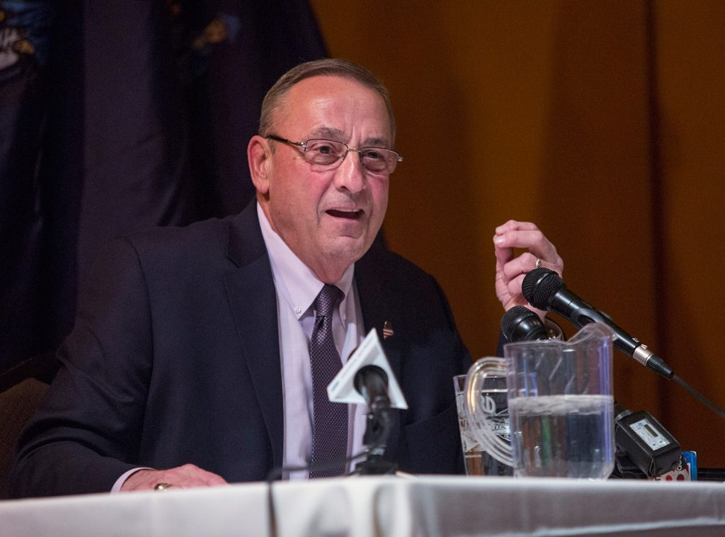 "Gov. Paul LePage speaks to an audience of about 150 people at Wednesday's town hall meeting in Gorham. He said, ""The only toll we should have is for the visitors coming in and out of the state in the summer months."""
