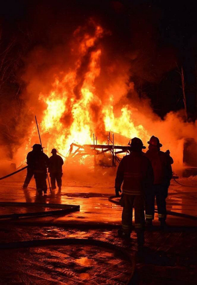 A free-standing garage on Route 135 in Monmouth was destroyed by fire early Thursday morning.
