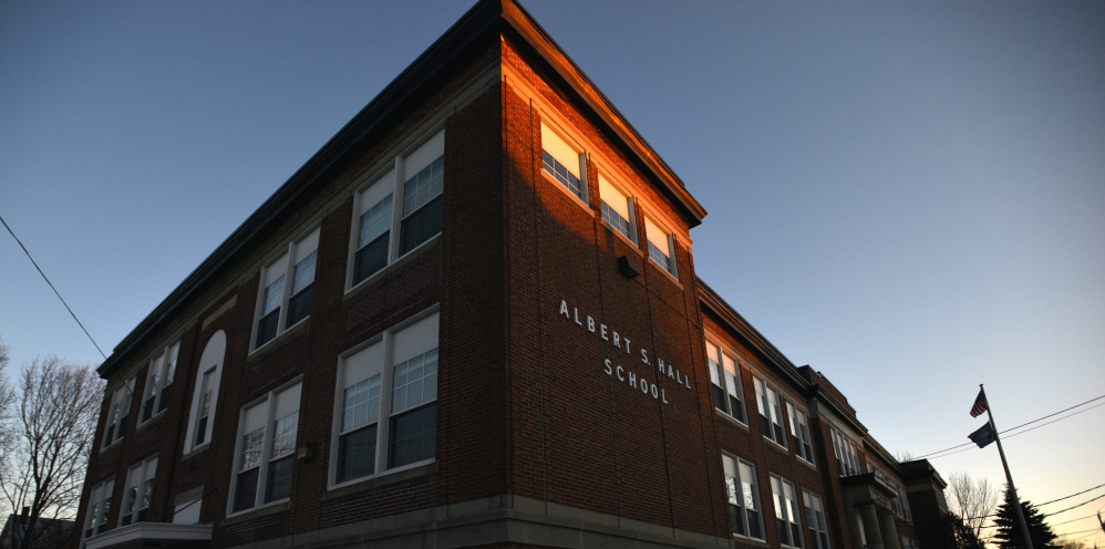 The Albert S. Hall School on Pleasant Street in Waterville, seen Thursday, will be the subject of a feasibility study to determine whether the school serving fourth- and fifth-graders should be closed.
