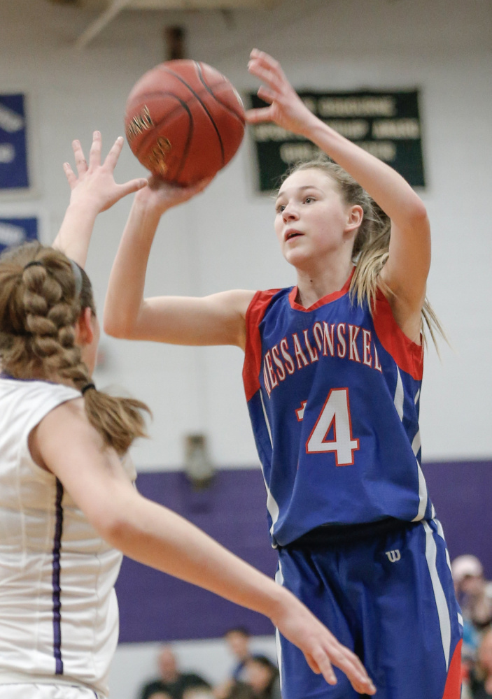 Messalonskee freshman Gabrielle Wener shoots a 3-pointer during a game against Waterville this season.