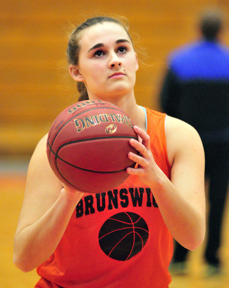 Brunswick's Madeline Suhr takes shots at practice Thursday at the Augusta Civic Center.