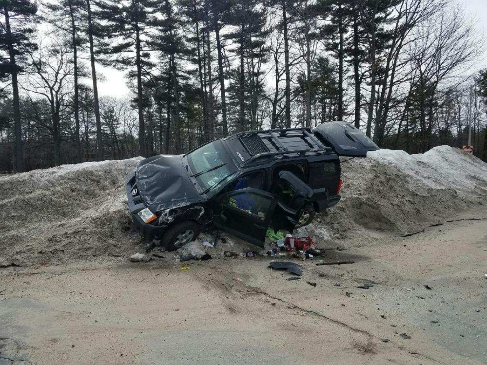 Police said this stolen sport utility vehicle rolled over Friday morning in South Portland after three inmates from the Long Creek Youth Development Center escaped from a supervised camping retreat and stole the vehicle.