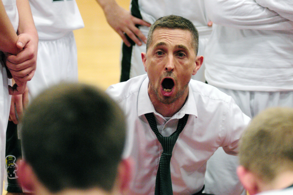 Winthrop coach Todd MacAurthur reacts during the Class C South championship game against Madison last Saturday.