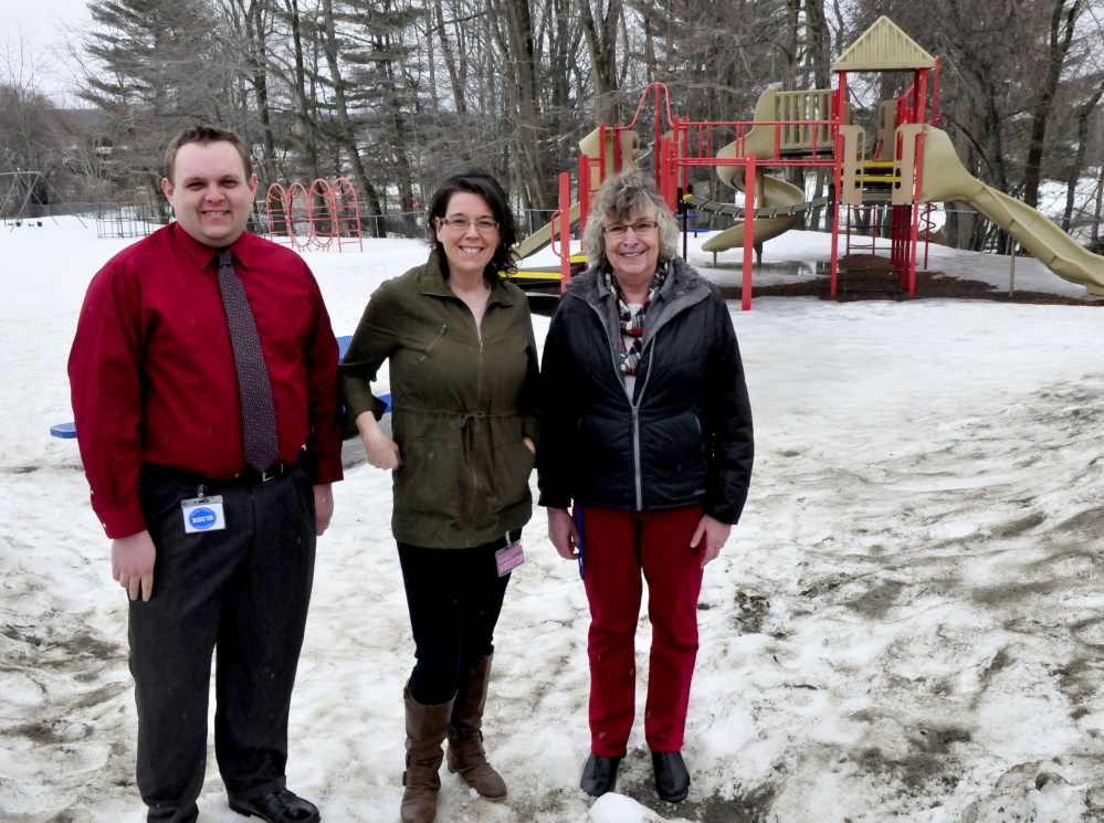 Belgrade Central School is currently raising money for new playground equipment that will replace and upgrade equipment at the school. School officials working on the project are PTO members Eric Brooks, Lisa Gagne-Sengendo and principal Gwen Bacon.