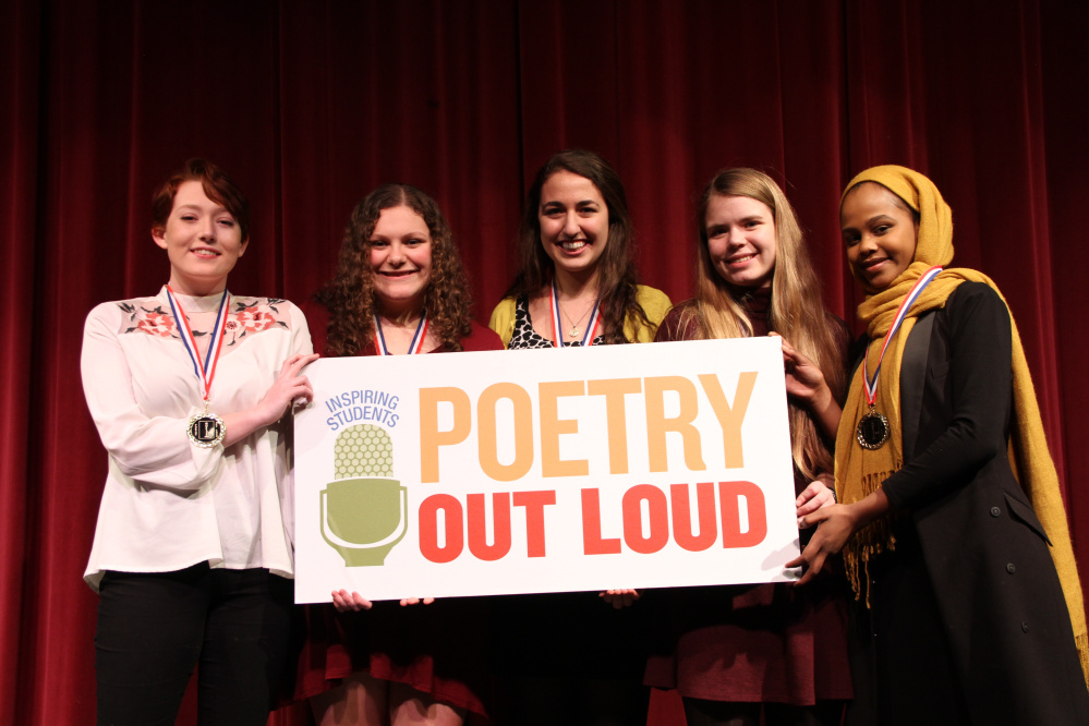 Poetry Out Loud Southern Regional Finalists from left are Sabrina Small of Maine Coast Waldorf School, Skyler Vaughn of The Maine Girls' Academy, Arielle Leeman of Morse High School, Jordan Bryant of Greely High School and Amran Mahamed of Deering High School.