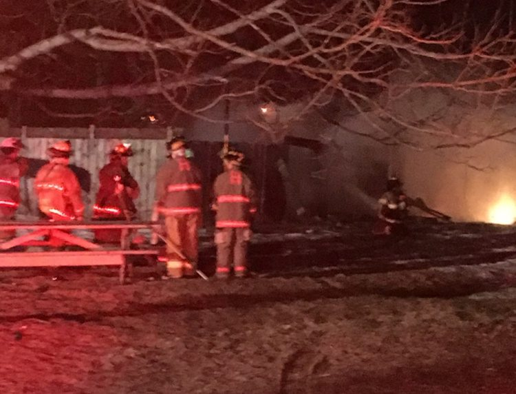 Firefighters from area towns battled a barn fire Sunday night in Hallowell.
