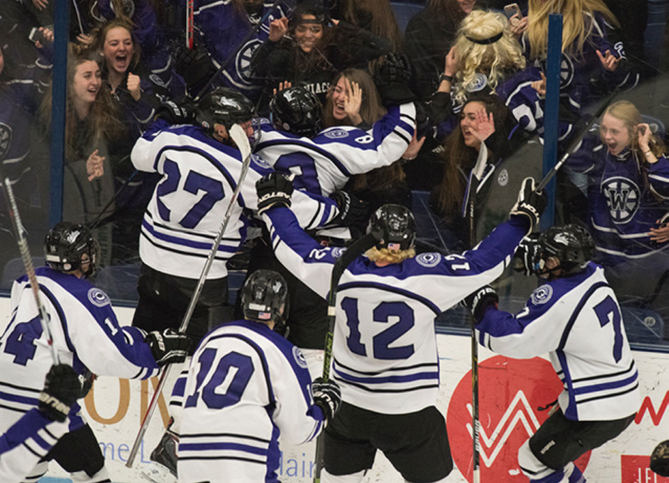 Kevin Bennett photo   Waterville celebrates its win over Old Town/Orono in the Class B Noth regional final Tuesday night in Orono.