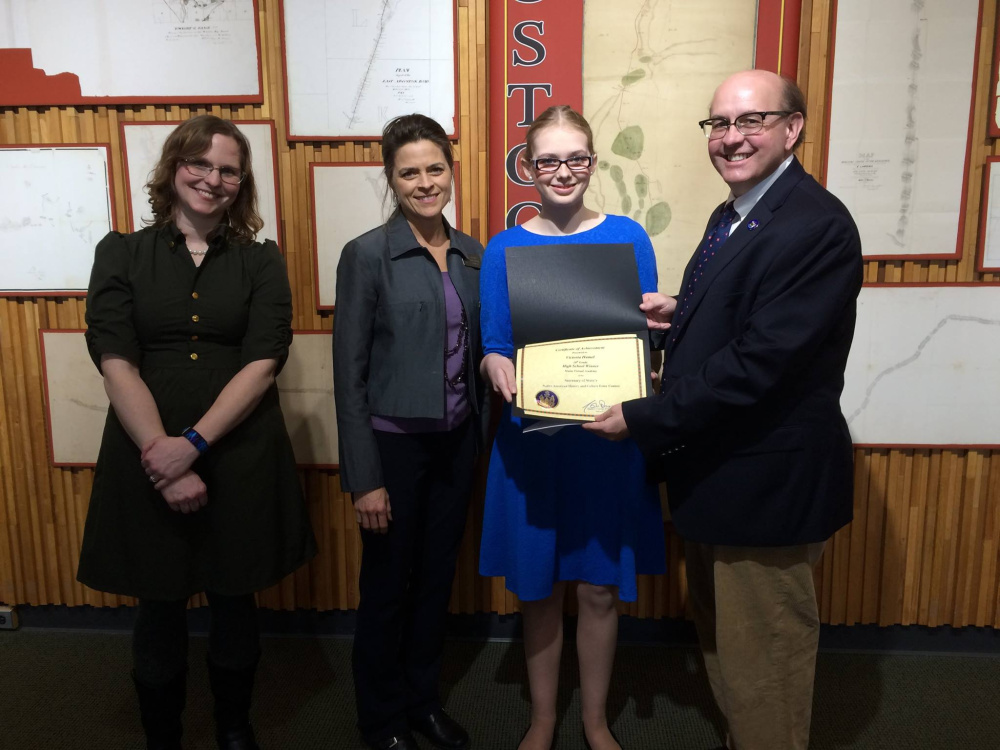 Maine Virtual Academy history teacher, Kristen Tripp, left with Maine District 18 Senator Lisa Keim, first place high school division winner Victoria Hamel, and Maine Secretary of State Matthew Dunlap.