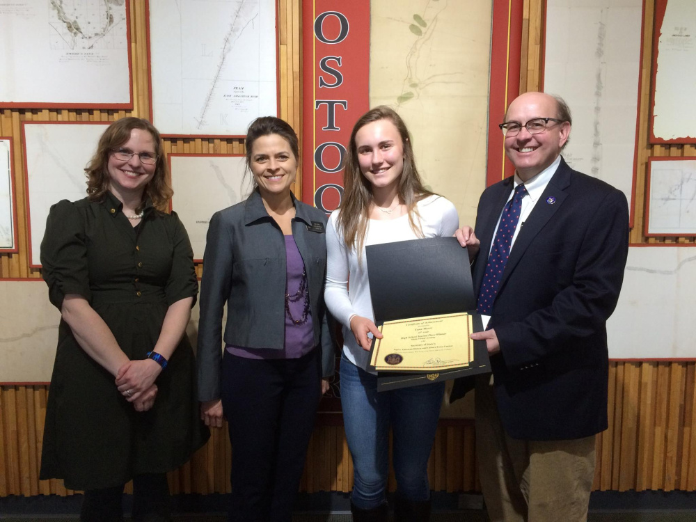 From left are Maine Virtual Academy history teacher, Kristen Tripp, Maine District 18 Senator Lisa Keim, second place high school division winner Lana Mavo, and Maine Secretary of State Matthew Dunlap.