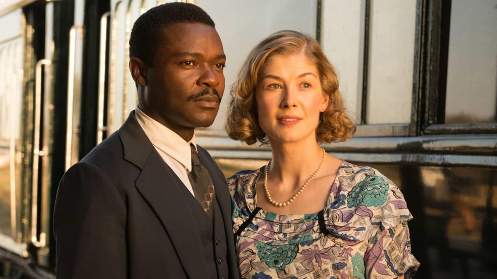 "Advid Oyelowo, left, and Rosamund Pike in ""A United Kingdom."""