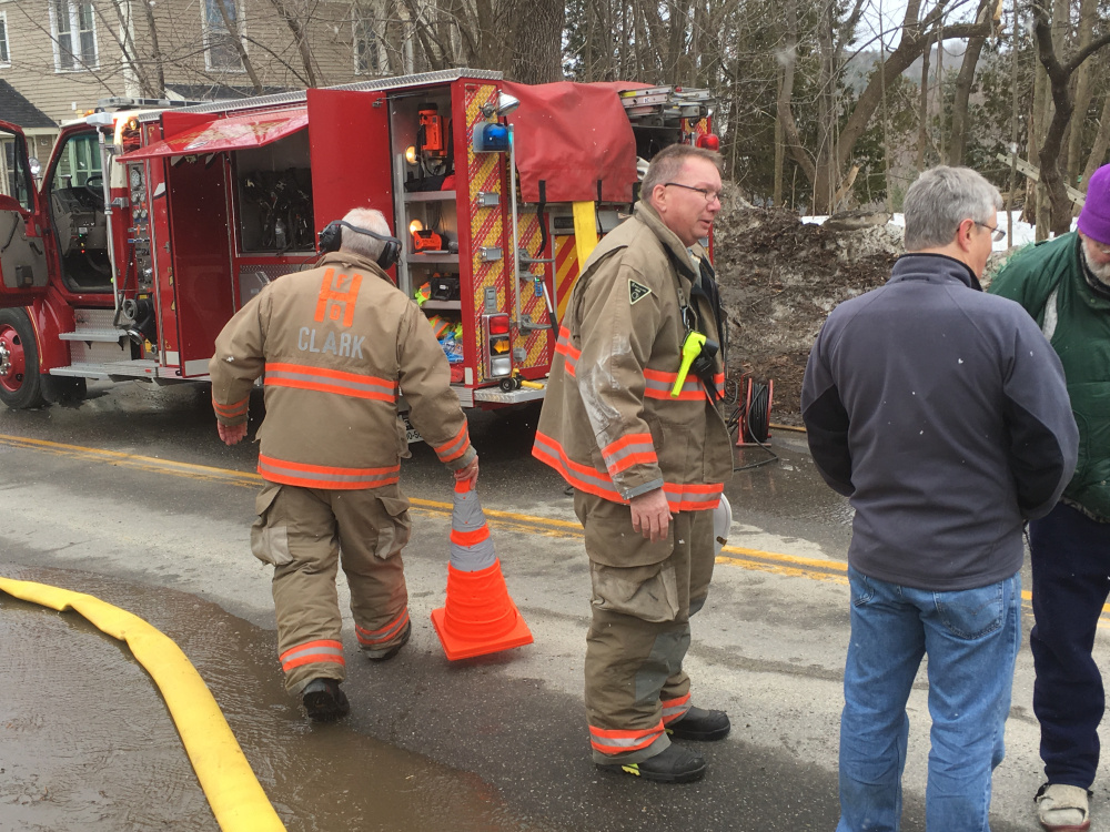 Several fire departments were called to a home at 21 Academy St. in Hallowell on Thursday morning because of a fire in the basement.