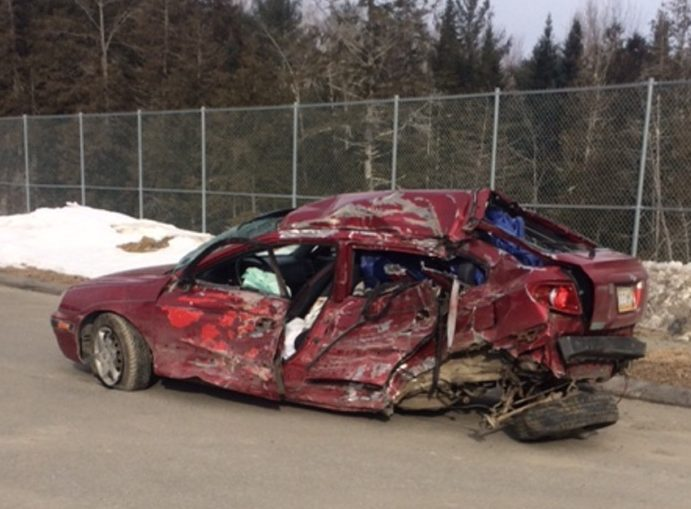 The Somerset County Sheriff's Office released this photo of the 2005 Hyundai Elantra that involved in a deadly crash with a school bus in Norridgewock Friday night.