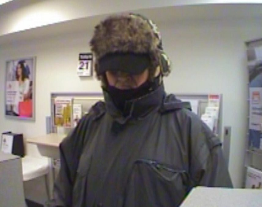 "An image released by authorities of the ""Silent Bandit"" who has been linked to four bank robberies in central Maine in recent years."