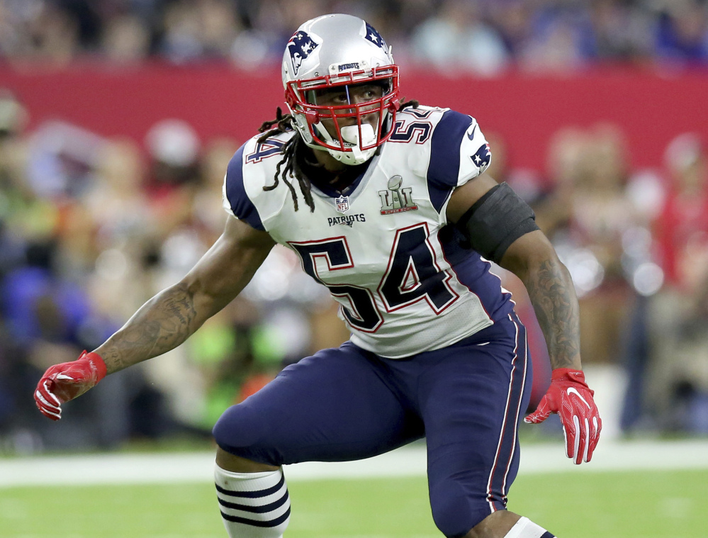 New England Patriots linebacker Dont'a Hightower folllows the action during Super Bowl 51 against the Atlanta Falcons in Houston.