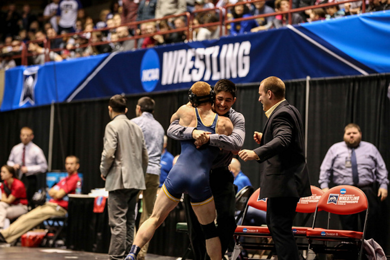 University of Southern Maine senior Dan Del Gallo, a Gardiner native, celebrates after he beat Aaron Engle of Cornell in the finals of the 149-pound weight class at the Division III national championships on Saturday in La Crosse, Wisconsin.