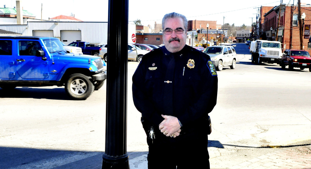Skowhegan Police Chief Don Bolduc stands in downtown Skowhegan on Monday. Bolduc is retiring from the department and returning to Millinocket in April.