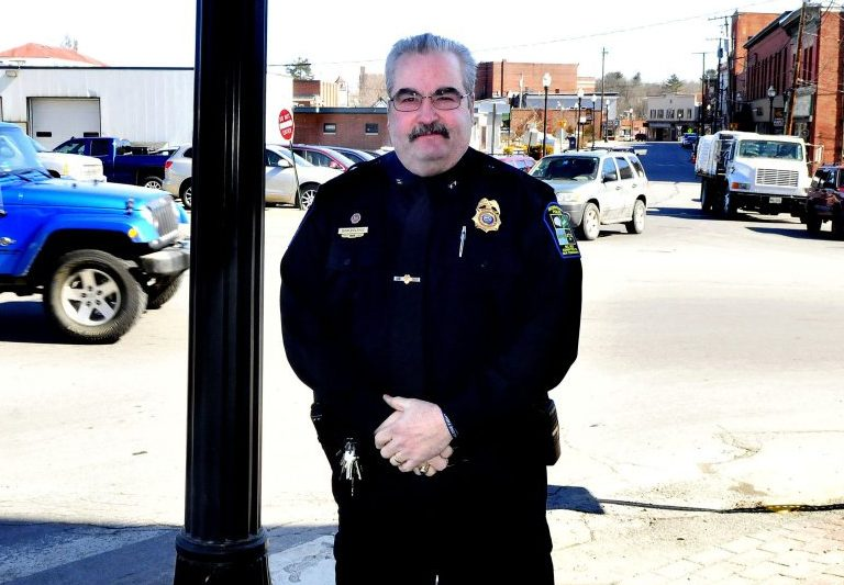 Skowhegan police Chief Don Bolduc stands in downtown Skowhegan on Monday. Bolduc is retiring from the department and returning to Millinocket, but earlier than expected. He intended to depart April 7, but the Skowhegan Board of Selectmen made his resignation effective Tuesday.