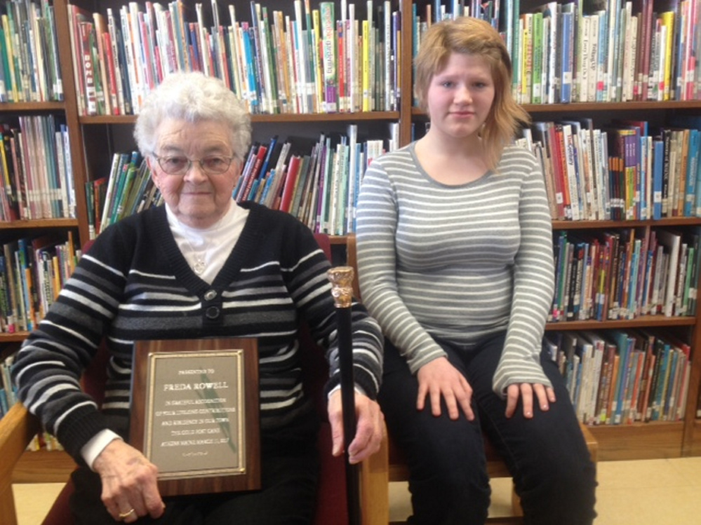 Longtime Athens resident Freda Rowell, left, and seventh-grade student Patricia Thody were honored recently at the Athens annual Town Meeting.