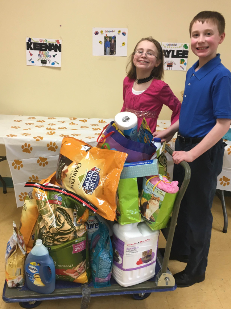 Twins Haylee and Keenan Sodoma, 13, of Sidney, celebrated their 13th birthday Feb. 27 at the Humane Society Waterville Area in Waterville. The twins asked that guests bring gifts for the animals instead of for themselves.