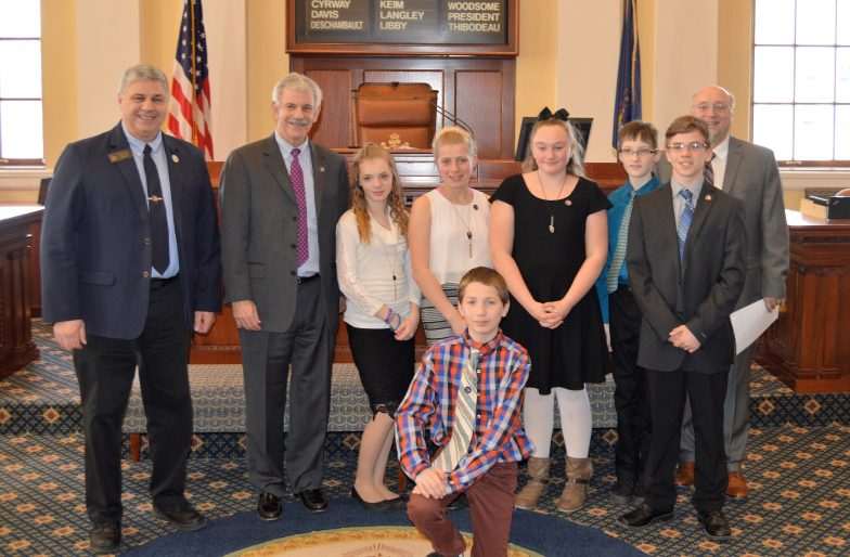 Vassalboro Community School students served as honorary pages during the Feb. 28 session in the Maine Senate. In back, from left, are Sen. Scott Cyrway, R-Benton; Sen. Roger Katz,  R-Augusta; Kazlynn Davidson, Angelia Aiden, Lexie Allen, Hunter Gunning, Aiden Fleck and Sen. Dana Dow, R-Waldoboro. Alexzander Hoffman is in front.