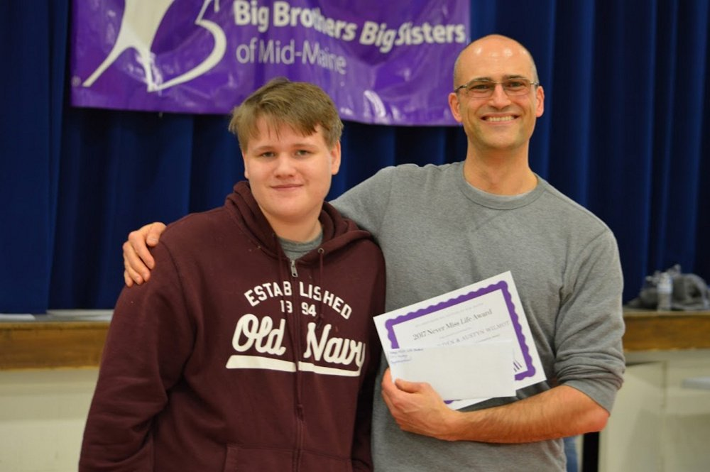 Never Miss Life Award named in memory of Little Sister Jessica Breault was awarded to Austyn Wilmot and Gilliad Munden, of Knox County, at the Big Brothers Big Sisters of Mid-Maine's annual program celebration .