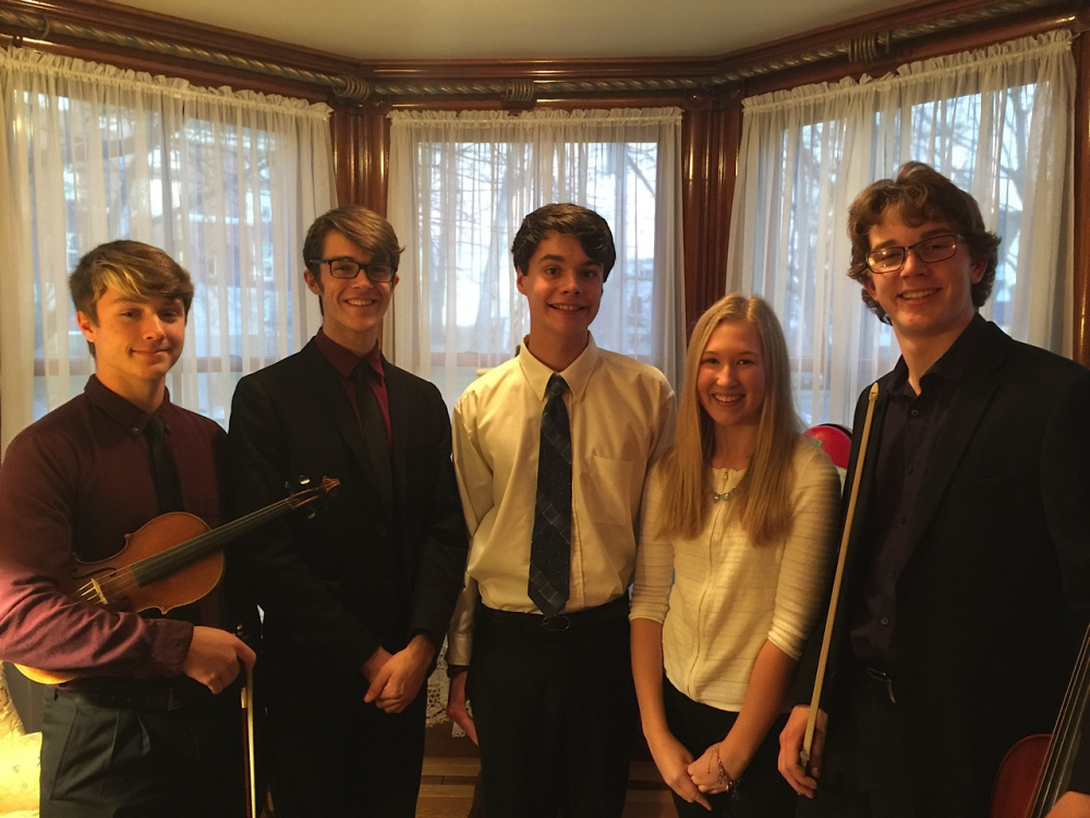 Performers in the upcoming Arts Institute Listen Local Youth Concert include, from left, Zach and Thad Gunther, Sawyer Zundel, Hallie Pike, and Nolan Rogers. Missing from photo are Ian Berry, Jillian Conant, Darby Sabin, and Isabelle and Phoebe Rogers.