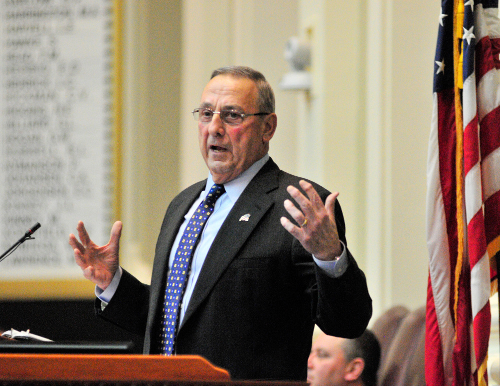 Gov. Paul LePage, shown here giving his State of State Address on Feb. 7 at the State House, is scheduled to be behind the bar Monday at the Quarry Tap Room in Hallowell as part of a charity event.