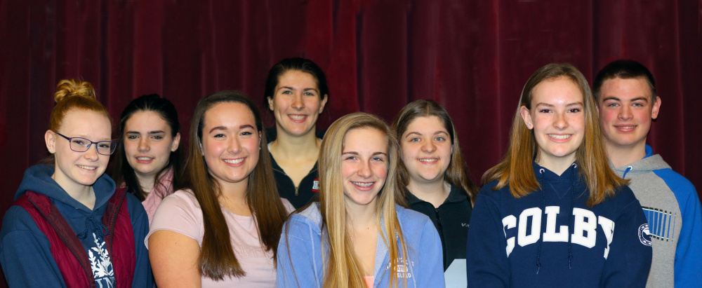 Messalonskee High School's February and March Students of the Month, from left, are Gabby Spear, Kailey Pelletier, Kaylee Burbank, McKenna Brodeur, Emma Dehetre, Ashley Mathieu, Sadie Colby and Dennis Lorrain.
