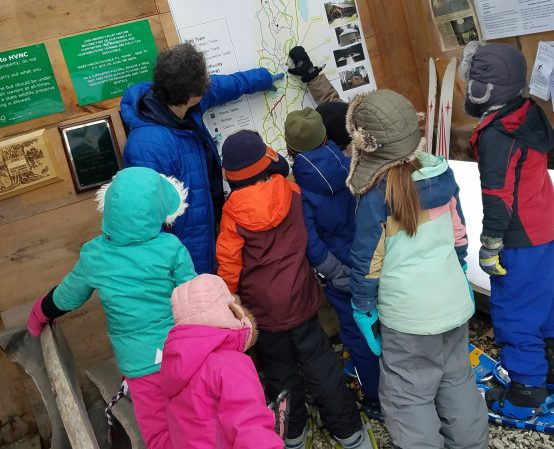 Juniper Hill School first- and second-grade students visit the Midcoast Conservancy's Hidden Valley Nature Center in Alna.