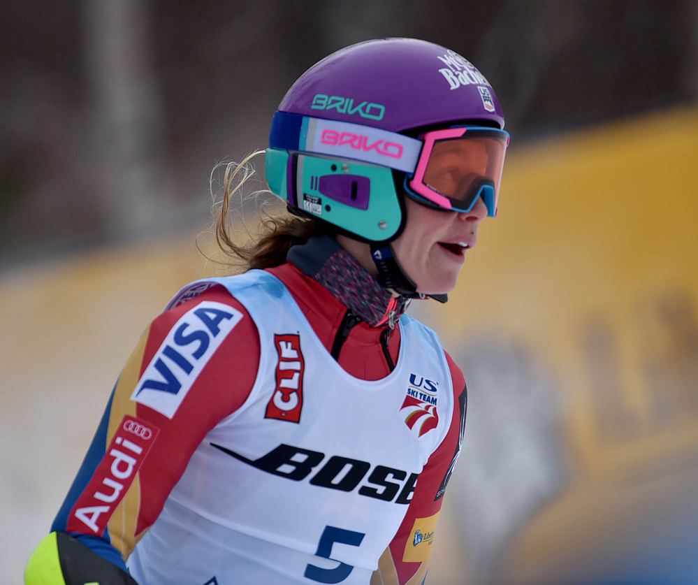 Laurenne Ross reacts after seeing her time in the super-G at the U.S. Alpine Championships at Sugarloaf on Saturday in Carrabassett Valley.