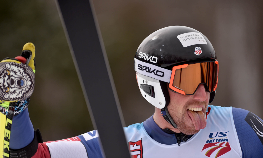 Michael Ankeny reacts after crossing the finish line in the super-G competition at the U.S. Alpine Championships at Sugarloaf on Saturday in Carrabassett Valley.
