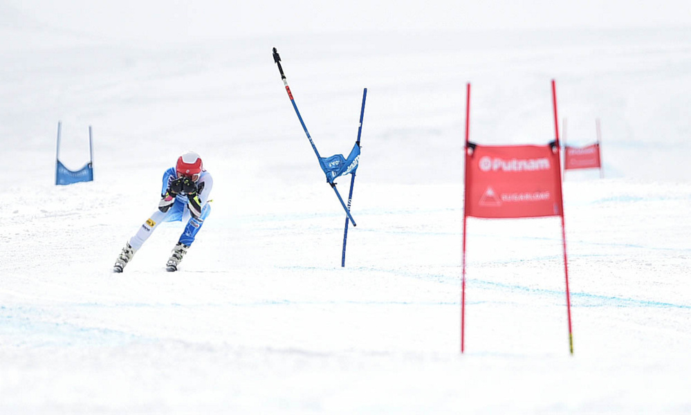 Ryan Cochran-Siegle (5) competes in the super-G at the U.S. Alpine Championships at Sugarloaf on Saturday in Carrabassett Valley.