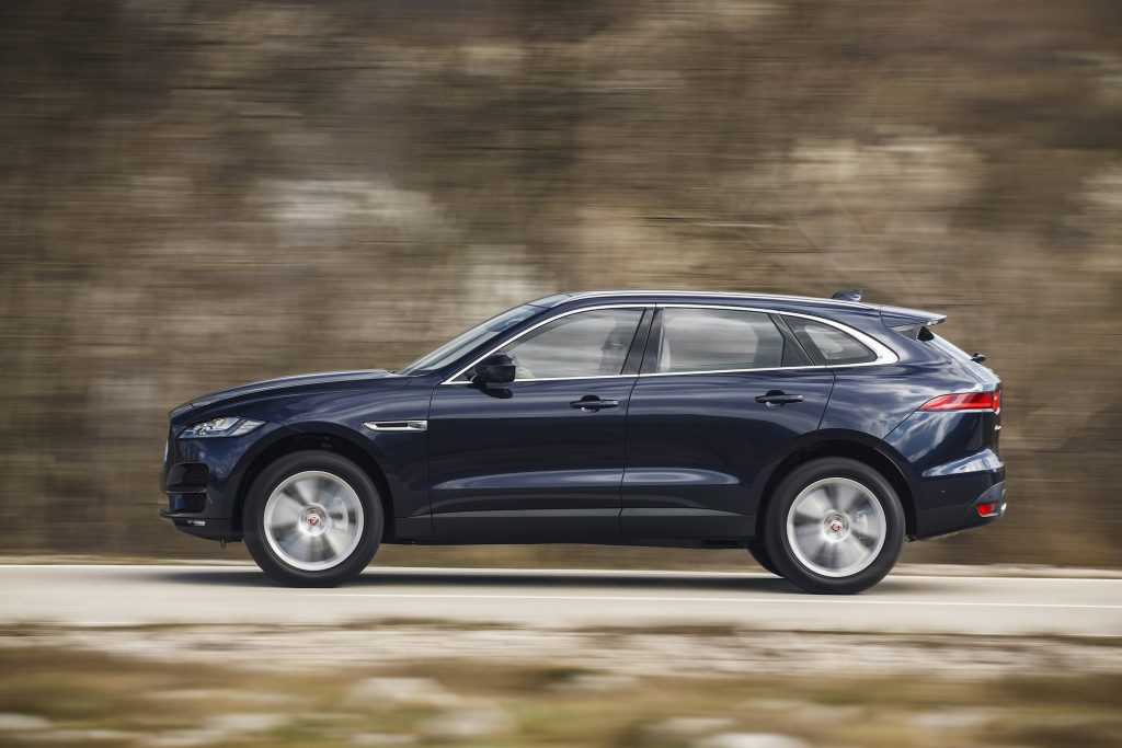The 2017 Jaguar F-Pace is outfitted with all-wheel-drive, and is driven through an eight-speed automatic transmission by a 3.0-liter supercharged V-6 engine.