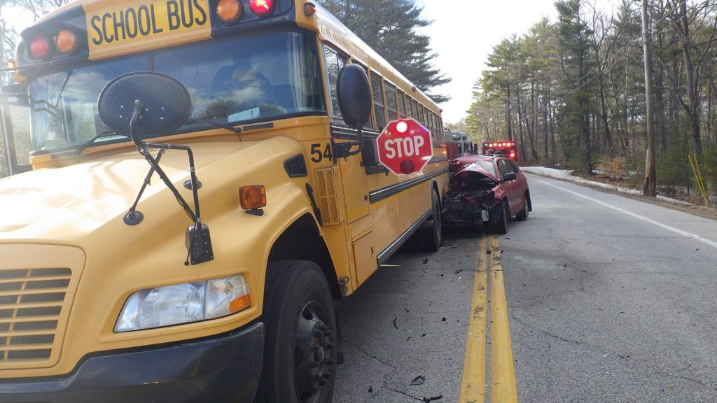 A car rear-ended a school bus on Route 113 in Standish on Thursday. Nobody on the bus was injured, but the car's driver suffered minor injuries.