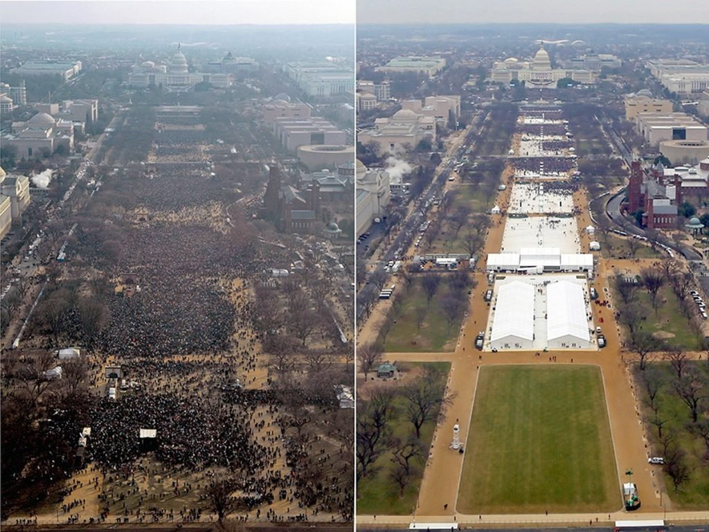 At left, a photo from the 2009 inauguration of President Barack Obama's audience on the National Mall in Washington. At right, photo of President Donald Trump's inauguration.