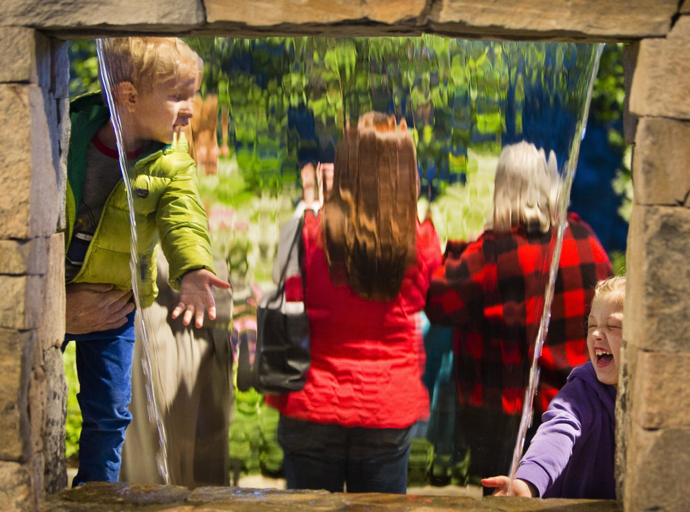 Calvin Johnson-McPheeters, 4, of South Portland, left, and Natalie Lidback, 8, of Bowdoin stick their hands into a waterfall at the Maine Flower Show on Sunday.