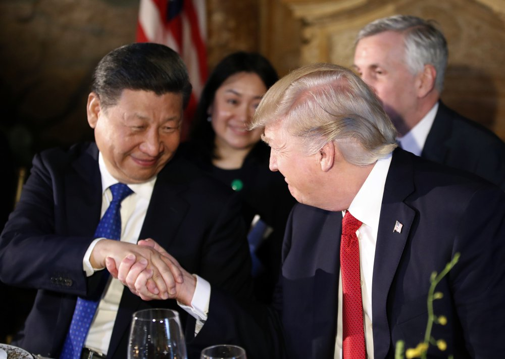 "President Trump and President Xi Jinping have dinner at the Mar-a-Lago estate in Florida. Trump said earlier that ""China will be stepping up"" to deal more firmly with North Korea."