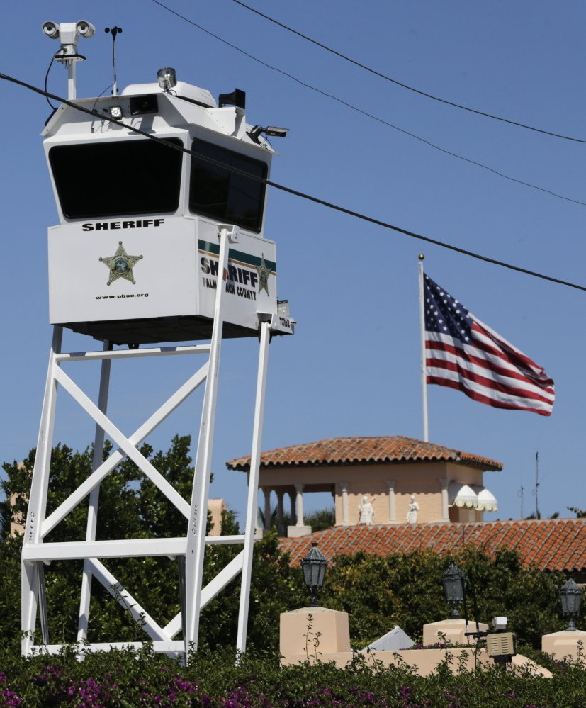 A lookout tower provided by Palm Beach County sits outside of President Trump's Mar-a-Lago resort.