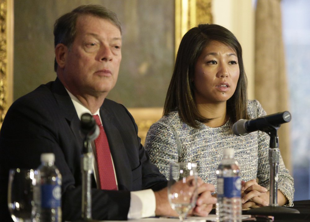 """Crystal Pepper daughter of Dr. David Dao, with attorney Stephen Golan, said Thursday in Chicago, """"what happened to my dad should never happen to any human being."""""""