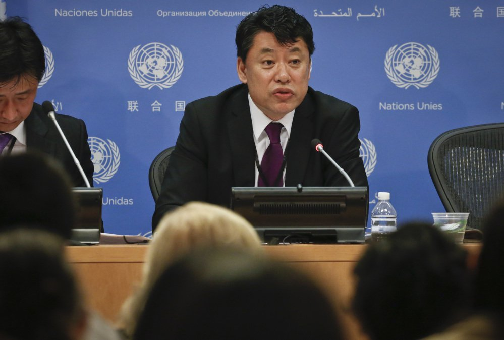 "North Korea Deputy United Nations Ambassador Kim In Ryong speaks during a news briefing Monday at U.N. headquarters. He stressed that U.S.-South Korean military exercises being staged now are the largest-ever ""aggressive war drill"" aimed at his country."