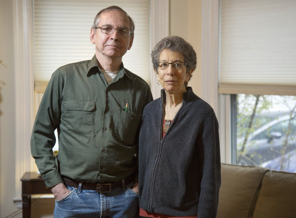 Al Bersbach, left, and Lee Sharkey at their home in Portland. She said,