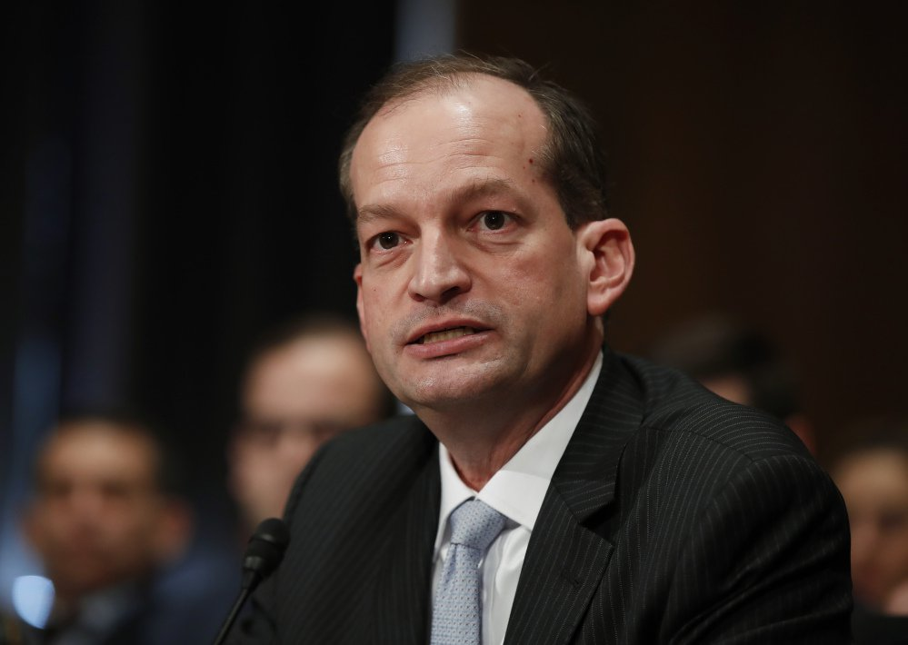 Labor secretary-designate Alexander Acosta testifies on Capitol Hill last Month. Acosta was confirmed on Thursday. Associated Press/Manuel Balce Ceneta