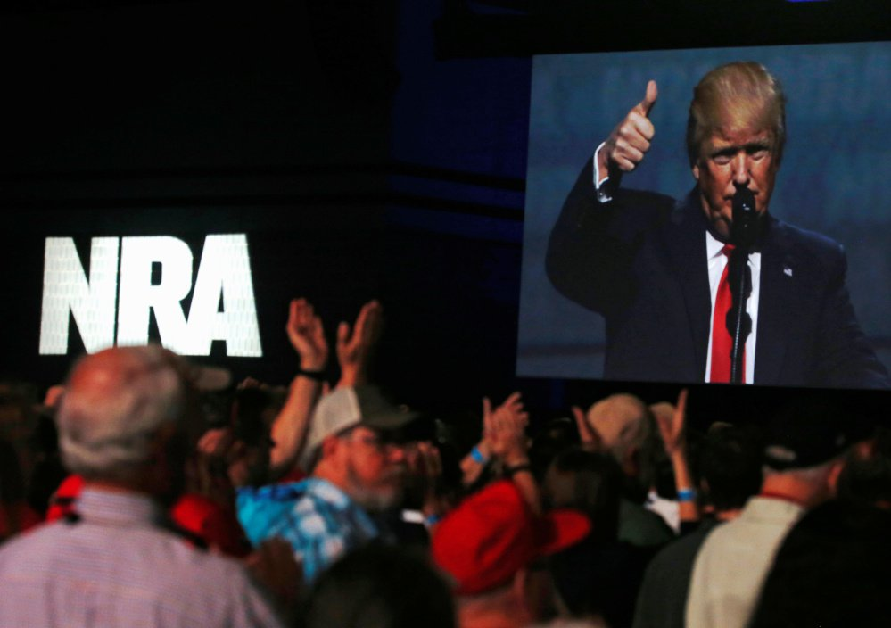 "President Trump addresses the NRA's annual convention in Atlanta in April of 2017. ""You came through big for me, and I am going to come through for you,""  he said."
