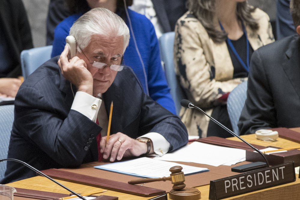 U.S. Secretary of State Rex Tillerson listens to the debate during a ministerial-level Security Council meeting on North Korea at the United Nations headquarters Friday in New York.
