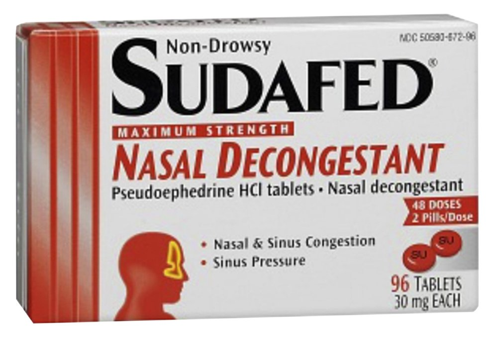 "Sudafed package   ""pseudoephedrine HCI tablets"""