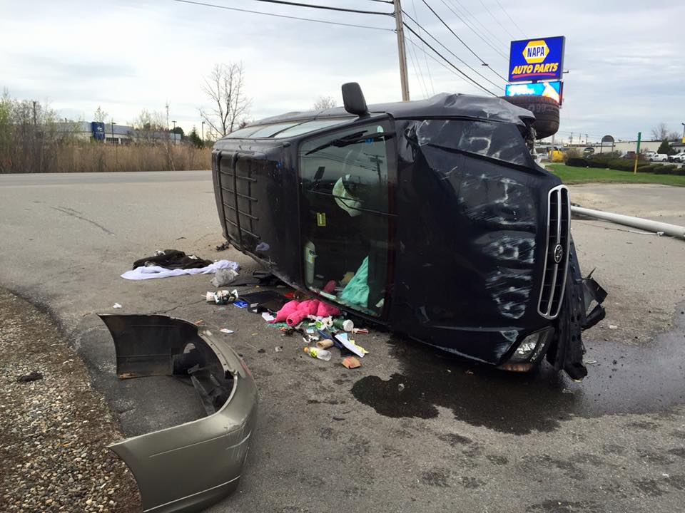 Police found this Subaru Outback rolled over on Larrabee Road in Westbrook with no one inside.