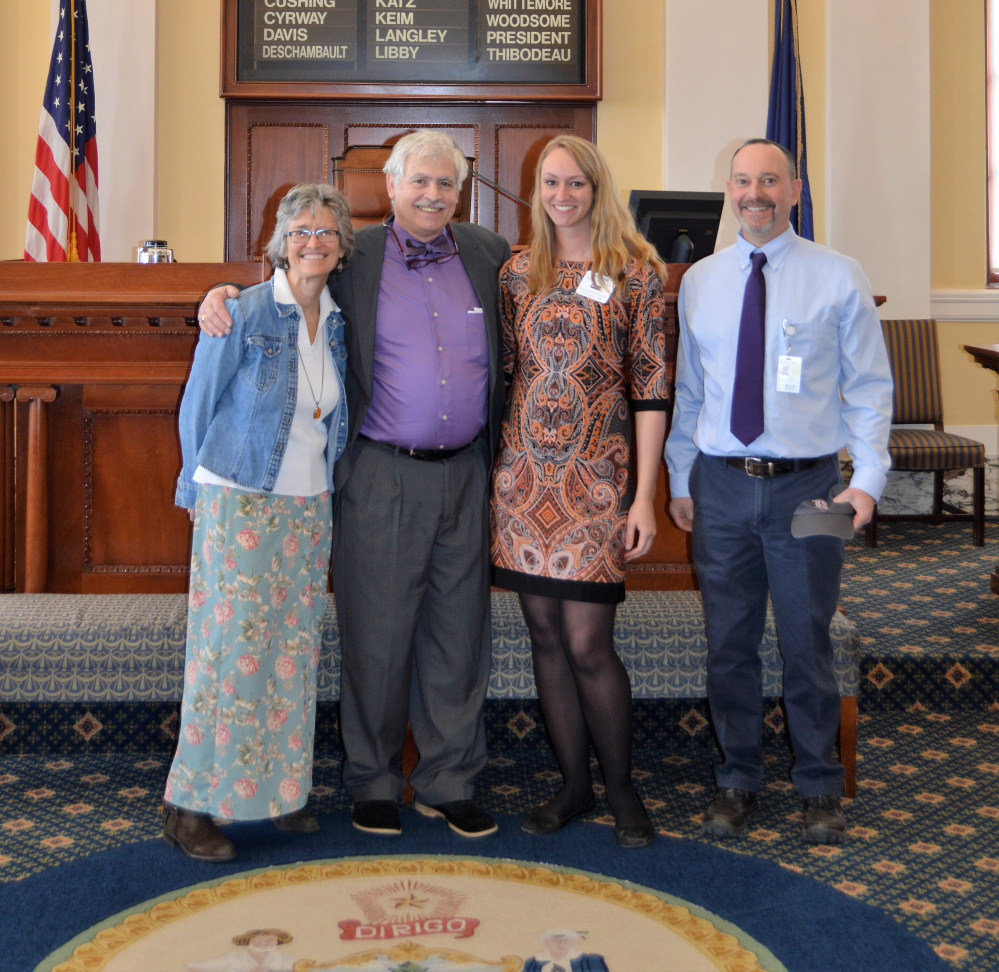 Contributed photo From left, are Barbara Averill, Sen. Tom Saviello, Robin Raymond and Glenn Kapiloff.