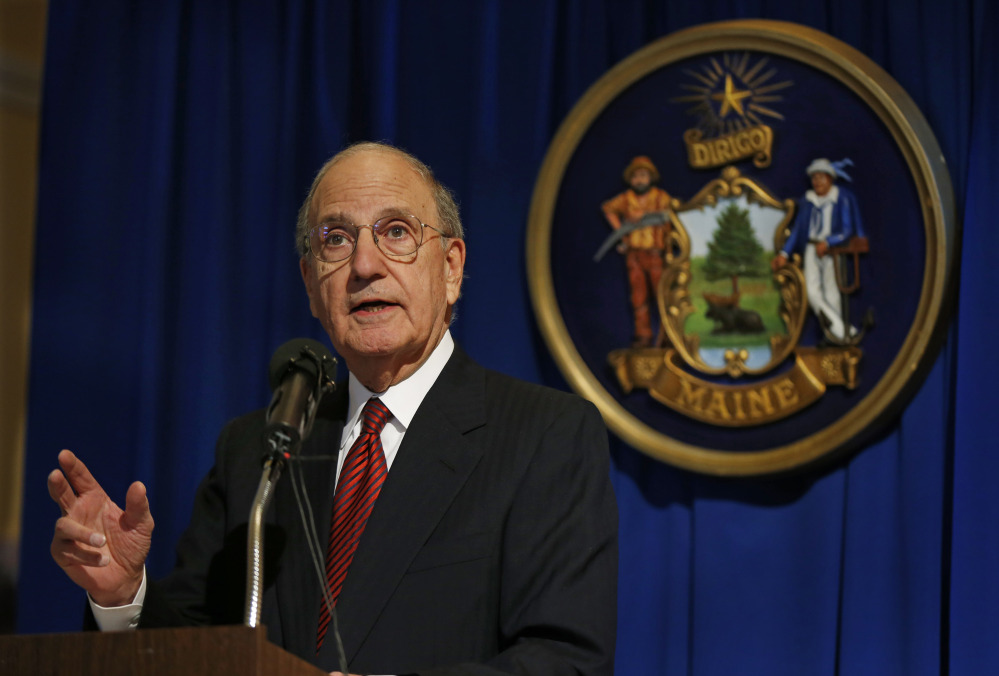 "Former U.S. Sen. George Mitchell speaks Jan. 28, 2014, after the unveiling of his portrait at the State House in Augusta. Mitchell will speak Thursday night at Colby College as part of the inaugural ""Community Voices"" event series sponsored by the college and the Morning Sentinel/Kennebec Journal."